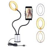 Support pour smartphone Selfie Light dimmable 3 couleurs de lumière - Argent Noir_