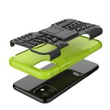 Hybride standaard case shockproof hoesje iPhone 11 - Groen Zwart_