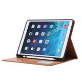 Etui Portefeuille Avec Porte-Stylo En Cuir Artificiel Pour iPad 10.2 Pouces - Marron_