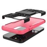 Coque antichoc et TPU absorbant les chocs pour iPhone 12 et iPhone 12 Pro - noire avec rose_