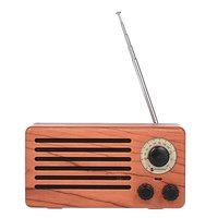 NR-3013 Mini Houten textuur Retro FM Radio Draadloze Bluetooth Speaker - Houtkleur Lichtbruin