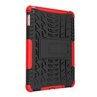 Coque iPad mini 4 5 en plastique TPU pour poignée de protection de profil de pneu - Rouge