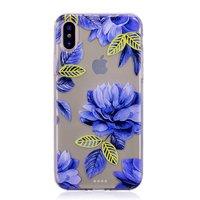 Coque iPhone X XS TPU Transparente Fleurs Bleues - Bleue