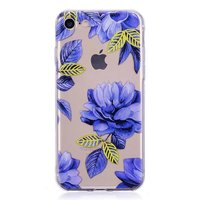 Coque iPhone 7 8 SE 2020 en TPU Transparent Bleu Floral - Bleu