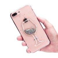 Étui transparent en verre à vin scintillant pour iPhone 7 Plus 8 Plus