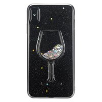 Étui transparent en verre à vin scintillant pour iPhone XS Max - Glitter