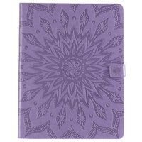 Étui portefeuille en cuir pour iPad Pro 12,9 pouces 2018 avec impression tournesol - Violet