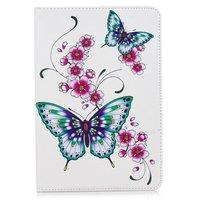 Papillons fleur flipcase cuir flip housse standard iPad mini 4 5 - Blanc