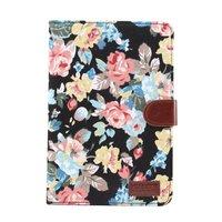 Housse en cuir colorée fleurs roses standard iPad mini 4 5 - Noir