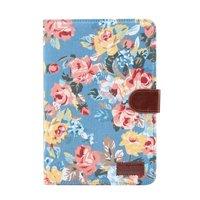 Housse en cuir colorée fleurs roses standard iPad mini 4 5 - Bleu clair