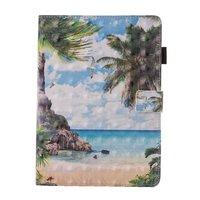 Étui à rabat en cuir pour île tropicale de plage iPad mini 1 2 3 4 5 - Bleu vert