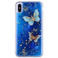Étui à paillettes pour papillons TPU or iPhone XS Max - Bleu