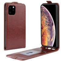 Etui Portefeuille Vertical en Similicuir Flip pour iPhone 11 Pro Max - Marron