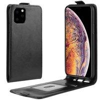 Verticale Flip kunstleer wallet hoesje iPhone 11 Pro Max case - Zwart