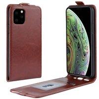 Étui portefeuille en similicuir à rabat vertical pour iPhone 11 Pro - Marron