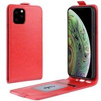 Étui portefeuille en similicuir à rabat vertical pour iPhone 11 Pro - Rouge