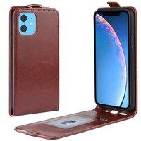 Étui portefeuille en similicuir à rabat vertical pour iPhone 11 - brun