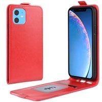 Étui portefeuille en similicuir Flip vertical pour iPhone 11 - Rouge