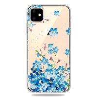 Coque iPhone 11 Flexible TPU Flexible Fleurs Bleues - Transparente