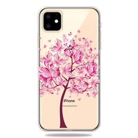 Coque iPhone 11 en TPU Flexible Papillon Arbre Papillons Arbre Rose Chaud - Transparent