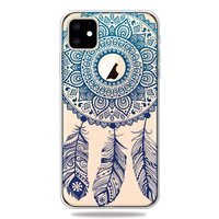 Coque iPhone 11 Dreamcatcher Mandala Web Blue Feathers Spiritual Case TPU - Transparente