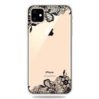 Coque en TPU pour iPhone 11 à motifs floraux noirs et blancs - Transparente