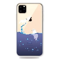 Coque iPhone 11 Pro Max TPU Étui Ours Polaire Sea Water Blue Drops - Transparente
