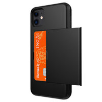 Porte-cartes portefeuille étui rigide TPU iPhone 11 - Noir