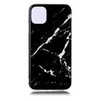 Étui noir en pierre naturelle avec motif en marbre pour iPhone 11