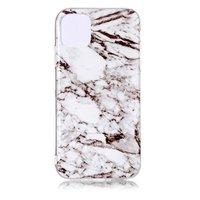 Étui blanc en pierre naturelle avec motif en marbre pour iPhone 11