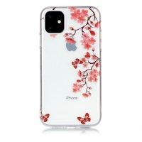 Coque TPU iPhone 11 Fleur Nature Papillons Fleur Rouge - Transparent