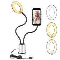 Support pour smartphone Selfie Light dimmable 3 couleurs de lumière - Argent Noir