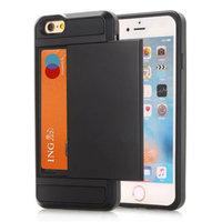 Étui porte-cartes secret pour étui rigide iPhone 7 8 SE 2020 - Portefeuille - Portefeuille - Noir