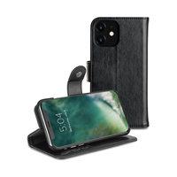 Xqisit Eman wallet case housse de protection porte-cartes en cuir iPhone 11 - Noir