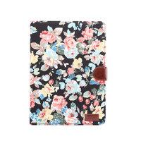 Housse Etui Flowerprint Motif De Tissu De Fleur En Cuir Artificiel iPad 10.2 Pouces - Noir