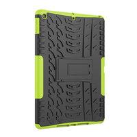 Profil de pneu iPad 10.2 pouces TPU Couverture en polycarbonate avec béquille - Vert Noir