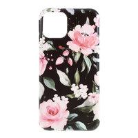 Coque Coque Fleurs Feuilles Fleurs Nature TPU Flexible Shock Absorbing pour iPhone 11 - Noire