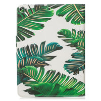 Wallet Wallet Sleeve Case Faux Leather Nature Leaves Jungle pour iPad 10.2 - Vert