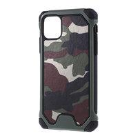 Housse iPhone 11 Pro Max en polycarbonate TPU en cuir hybride camouflage Army - Vert