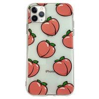 Coque en TPU Peaches pour iPhone 11 Pro Max - Rose Transparente Flexible