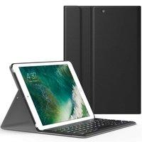 Just in Case Housse en cuir pour clavier Bluetooth iPad 9.7 pouces 2017 2018 - Noir QWERTY