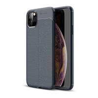 Coque en TPU en cuir artificiel souple Just in Case pour iPhone 11 Pro Max - Coque bleue