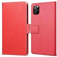 Just in Case Portefeuille en cuir Wallet Wallet iPhone 11 Pro Cover - Red Cards Bills