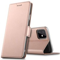 Coque iPhone 11 Pro Max Bookcase Just in Case Portefeuille en Cuir - Or Rose