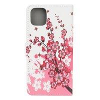Étui Portefeuille Fleuri En Faux Cuir Pour iPhone 12 Mini - Blanc