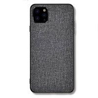 Étui en tissu et à texture de tissu pour iPhone 12 et iPhone 12 Pro - gris