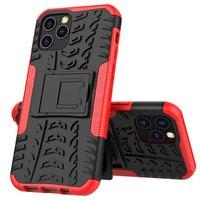 Coque antichoc et TPU absorbant les chocs pour iPhone 12 et iPhone 12 Pro - Noire avec rouge