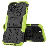 Coque en TPU antichoc antichoc pour iPhone 12 et iPhone 12 Pro - noire avec vert