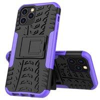 Coque en TPU antichoc antichoc pour iPhone 12 et iPhone 12 Pro - noire avec violet