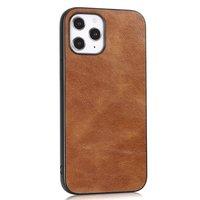 Étui en similicuir aspect cuir pour iPhone 12 Pro Max - marron
